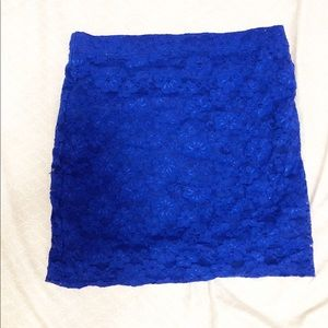 Royal Blue Lace Mini Skirt